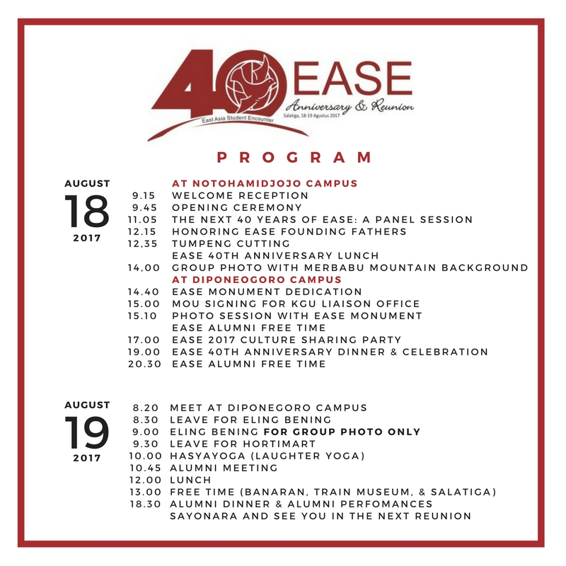 FINAL PROGRAM RUNDOWN EASE 40th Anniversary & Reunion